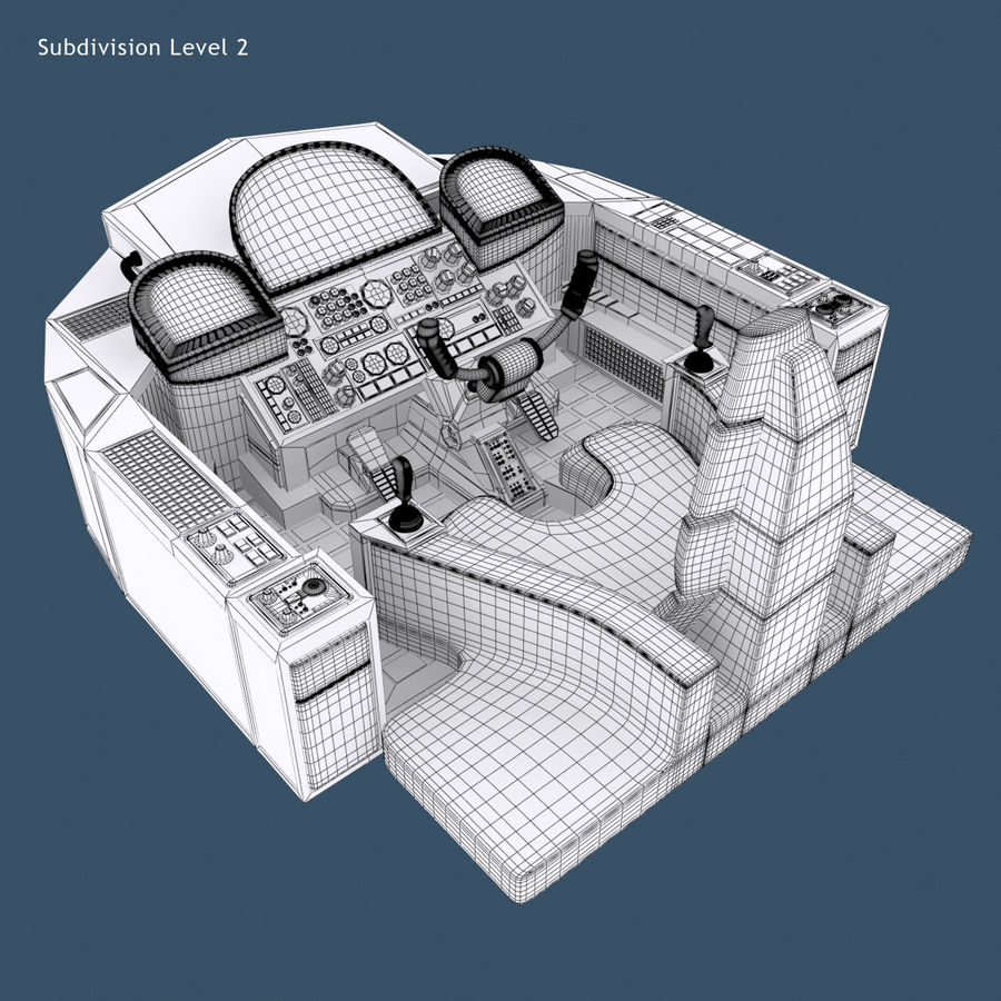 Cockpit A (old version) royalty-free 3d model - Preview no. 10