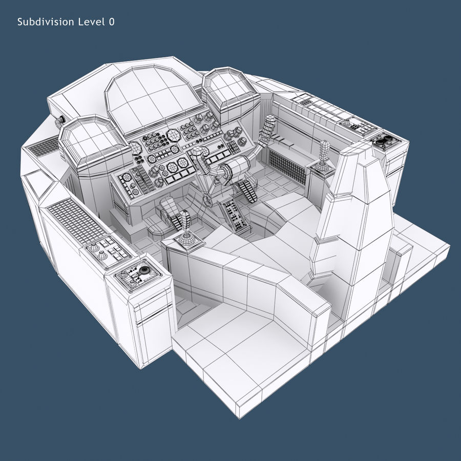 Cockpit A (old version) royalty-free 3d model - Preview no. 8