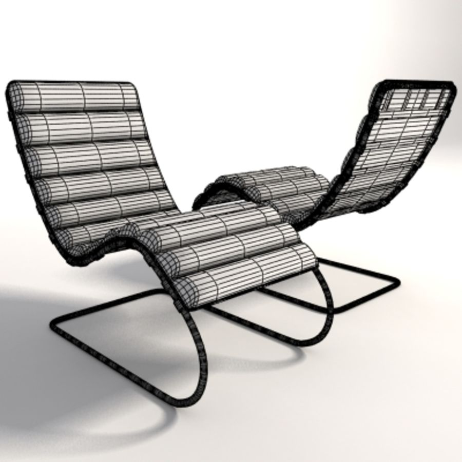 Mies Van Der Rohe MR Chaise 라운지 royalty-free 3d model - Preview no. 8