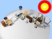 kit de muebles de salón de belleza modelo 3d
