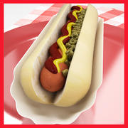 High Def Classic Hot Dog più supporto Hot Dog professionale 3d model