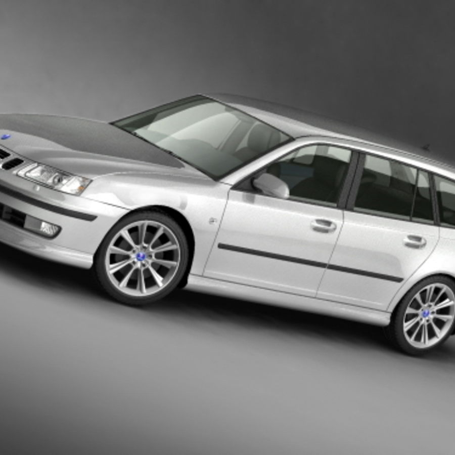 Saab 9-3 sportcombi 2006 royalty-free 3d model - Preview no. 2
