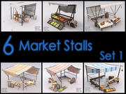 Market Stall Set, Low Poly, Textured 3d model