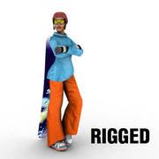 Сноуборд девушка 3d model
