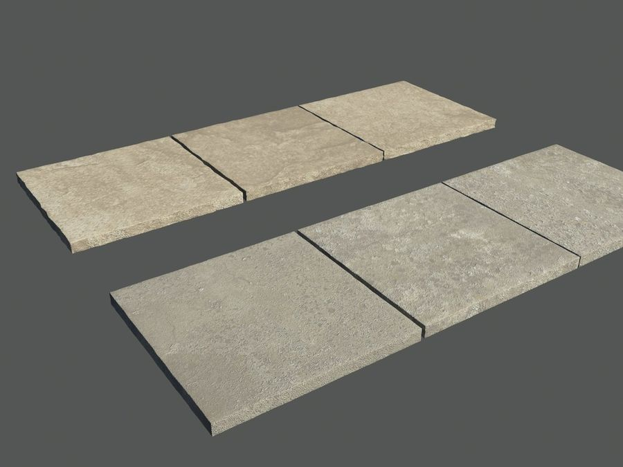 Six paving Slabs royalty-free 3d model - Preview no. 1