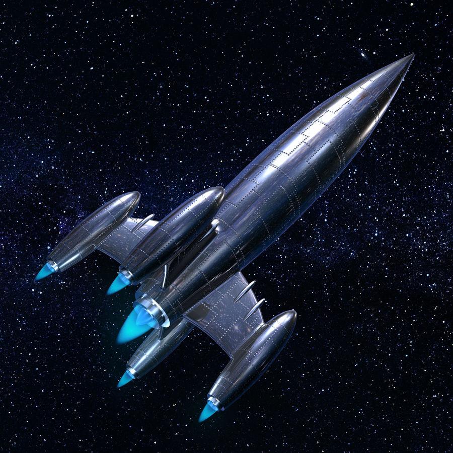 銀ロケット船 royalty-free 3d model - Preview no. 10