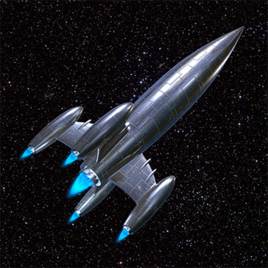 Silver rocket ship 3d model 6 max ma free3d for Outer space 3d model