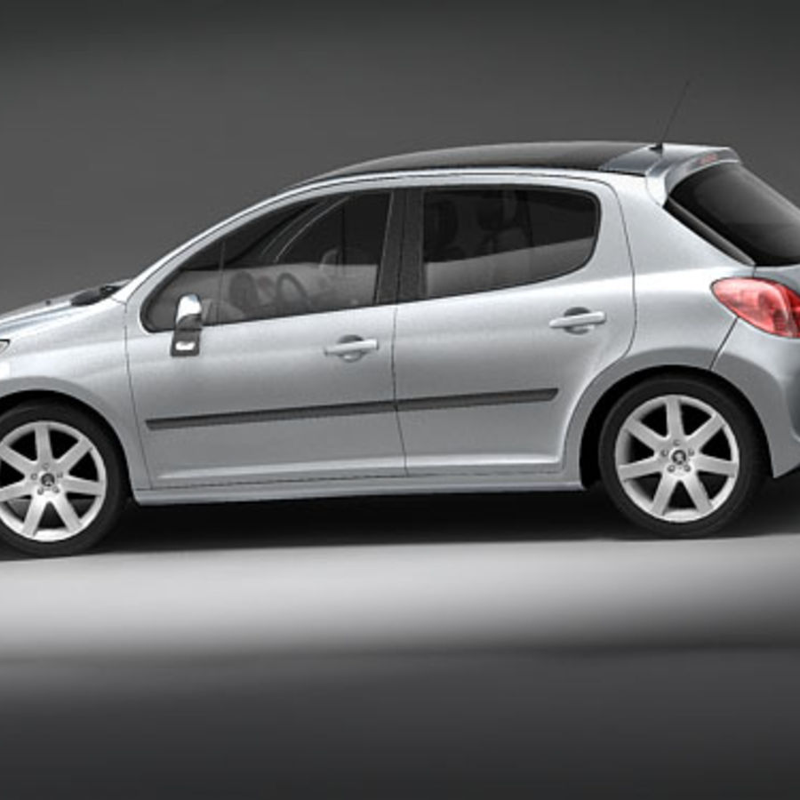 Peugeot 207 5door royalty-free 3d model - Preview no. 7