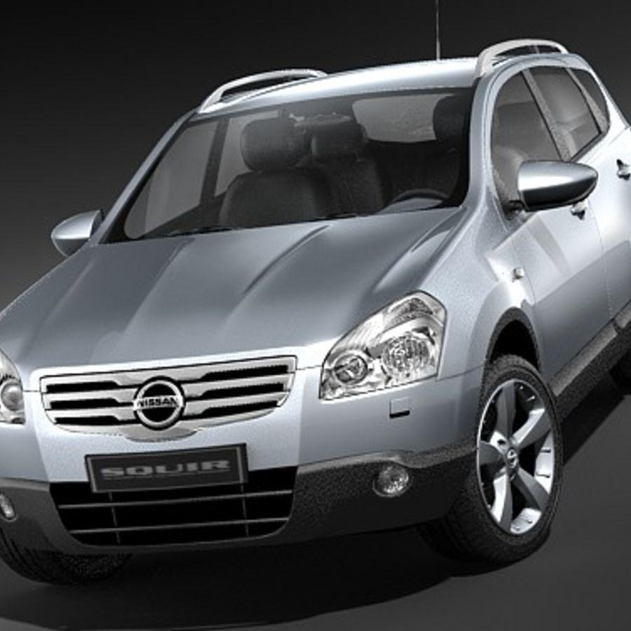Nissan Qashqai+2 2009-2012 royalty-free 3d model - Preview no. 2