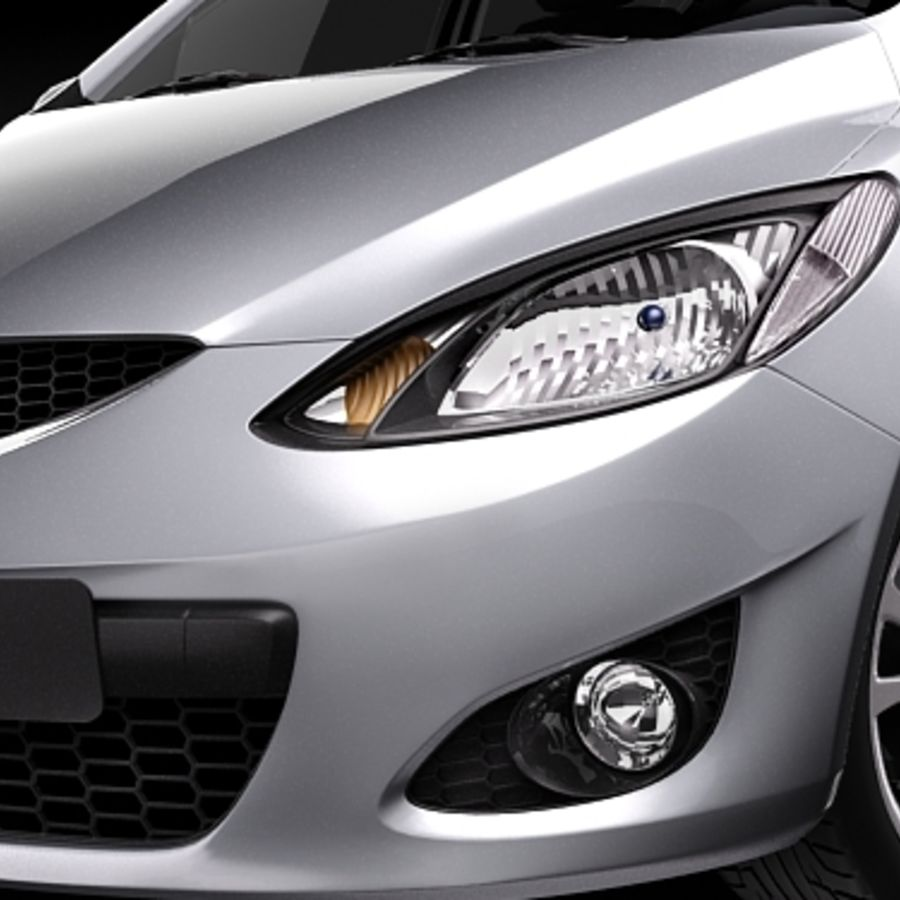 Mazda 2 sedan 2009 royalty-free 3d model - Preview no. 3