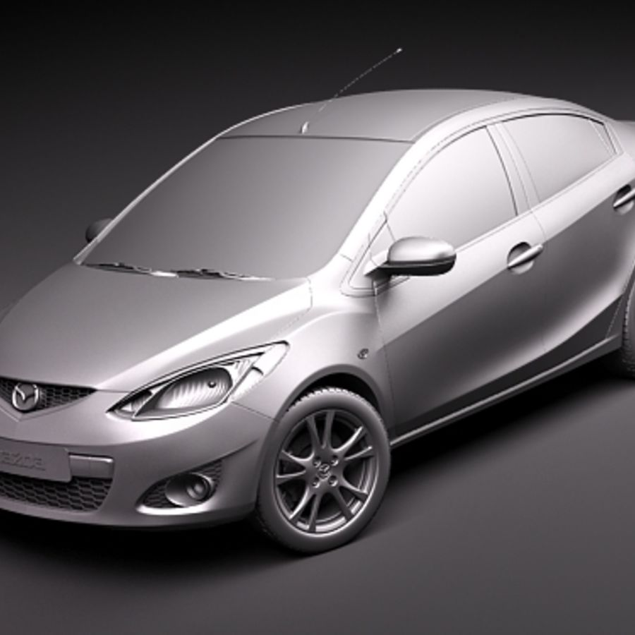 Mazda 2 sedan 2009 royalty-free 3d model - Preview no. 12