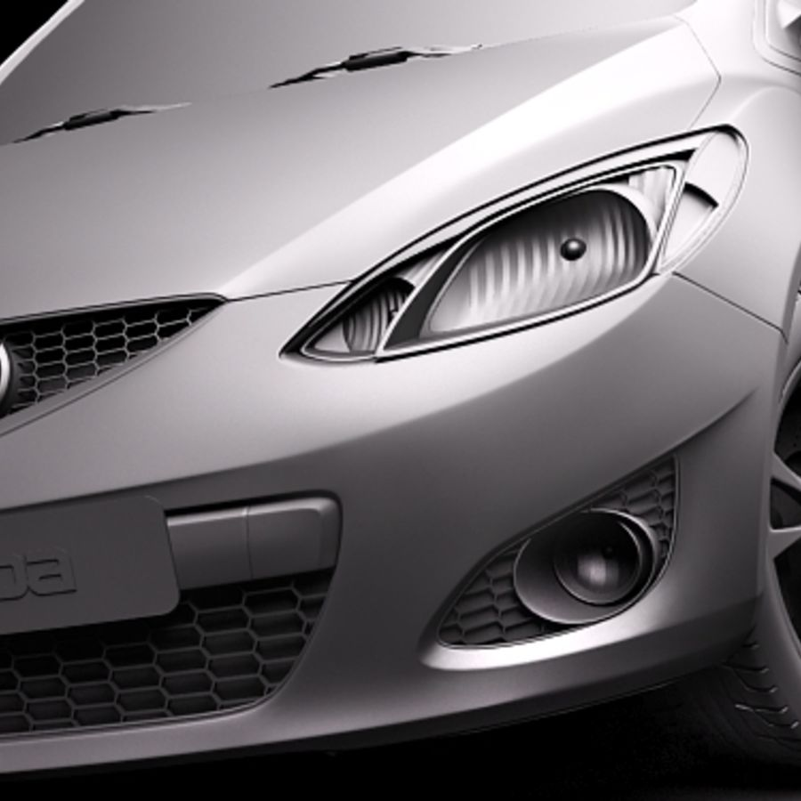 Mazda 2 sedan 2009 royalty-free 3d model - Preview no. 11