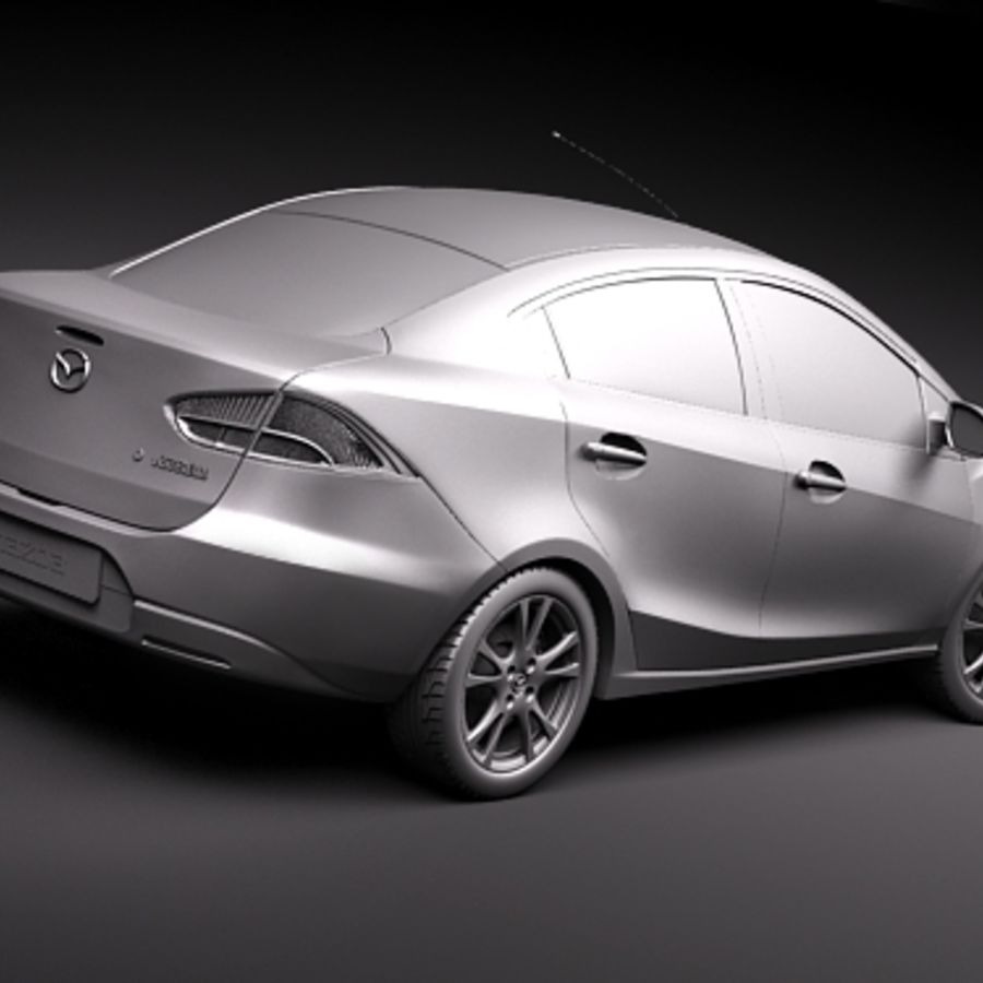 Mazda 2 sedan 2009 royalty-free 3d model - Preview no. 9