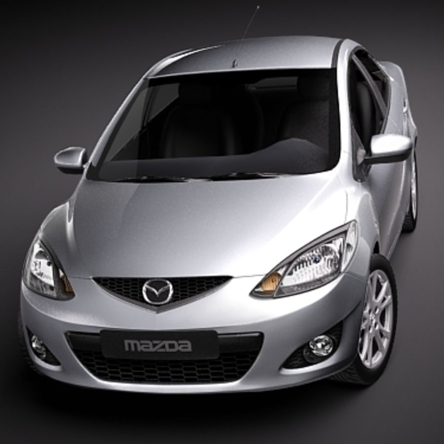 Mazda 2 sedan 2009 royalty-free 3d model - Preview no. 2