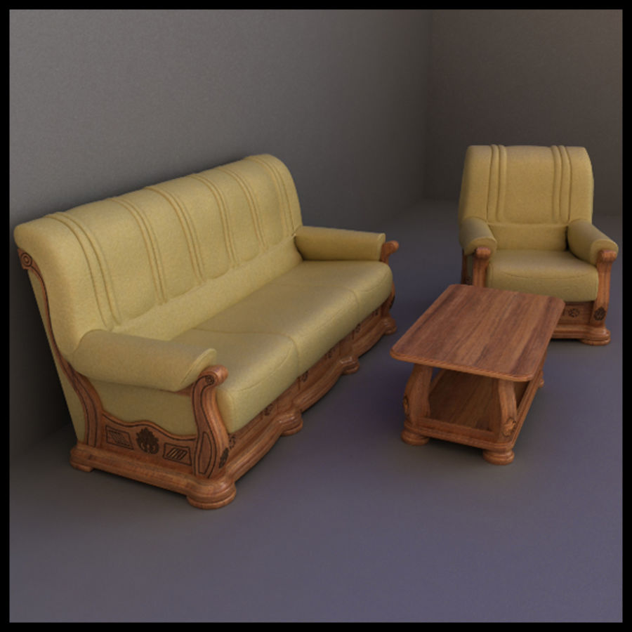 Couch Set royalty-free 3d model - Preview no. 1