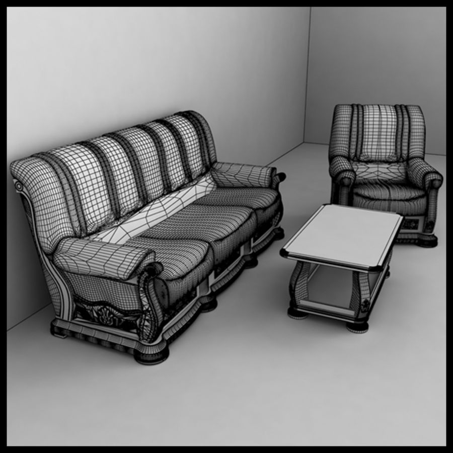 Couch Set royalty-free 3d model - Preview no. 2