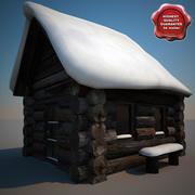Maison en bois recouvert de neige ancienne V2 3d model