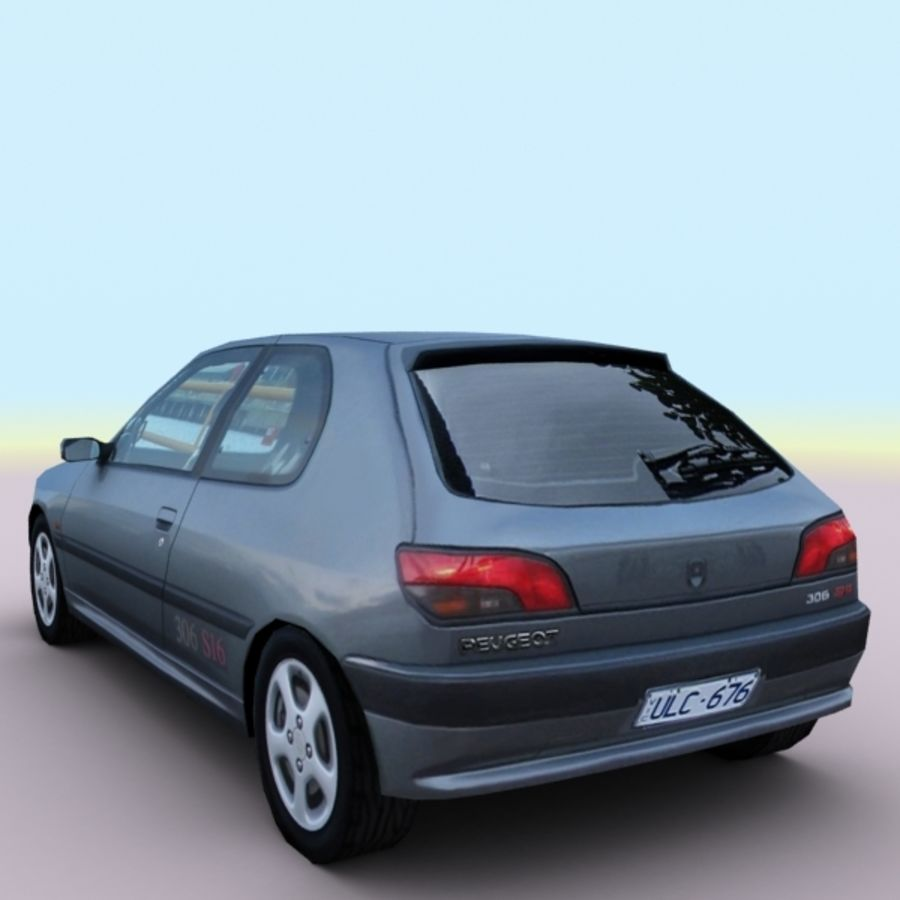 2002 Peugeot 306 royalty-free 3d model - Preview no. 8