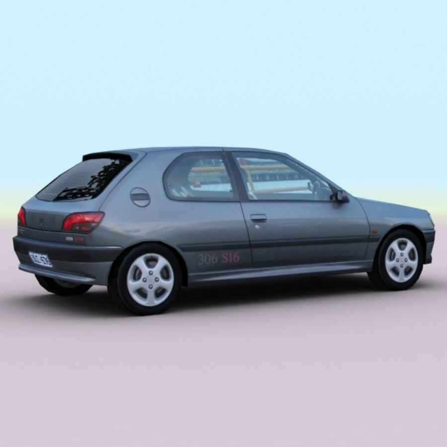 2002 Peugeot 306 royalty-free 3d model - Preview no. 2