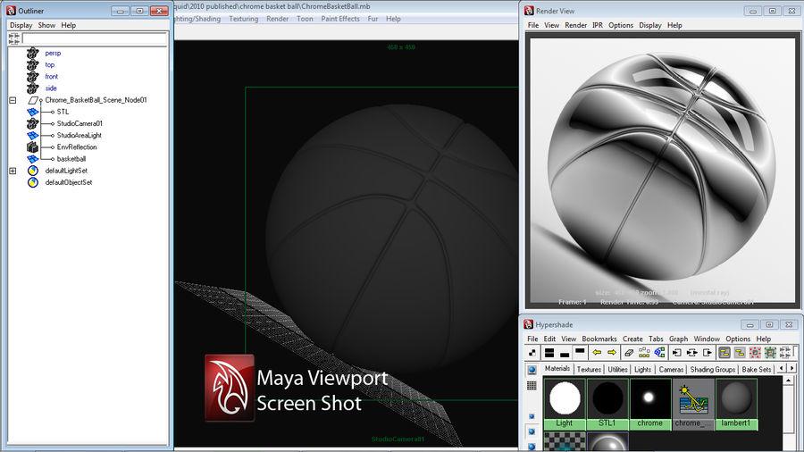 Chrome Basket Ball 3D Model $49 -  xsi  lwo  max  ma  c4d