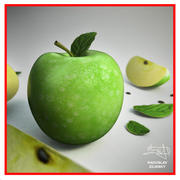 Apple frukt - grön + BONUS 3d model