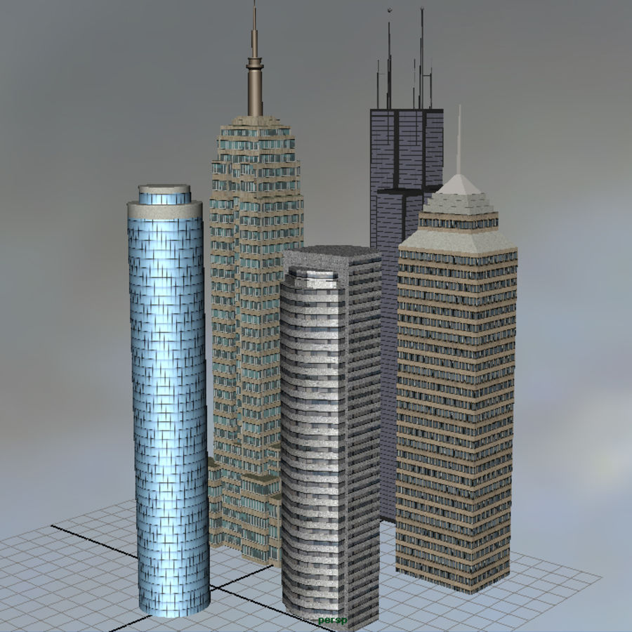 Edifícios da cidade royalty-free 3d model - Preview no. 3