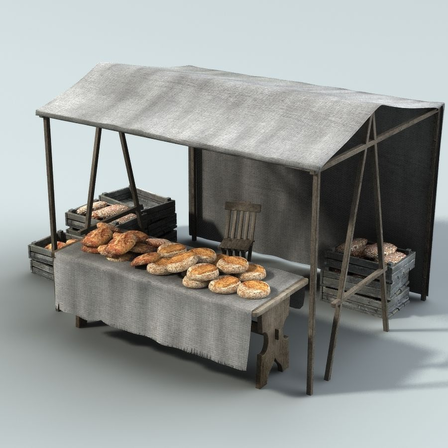 Marketstall Bread royalty-free 3d model - Preview no. 1