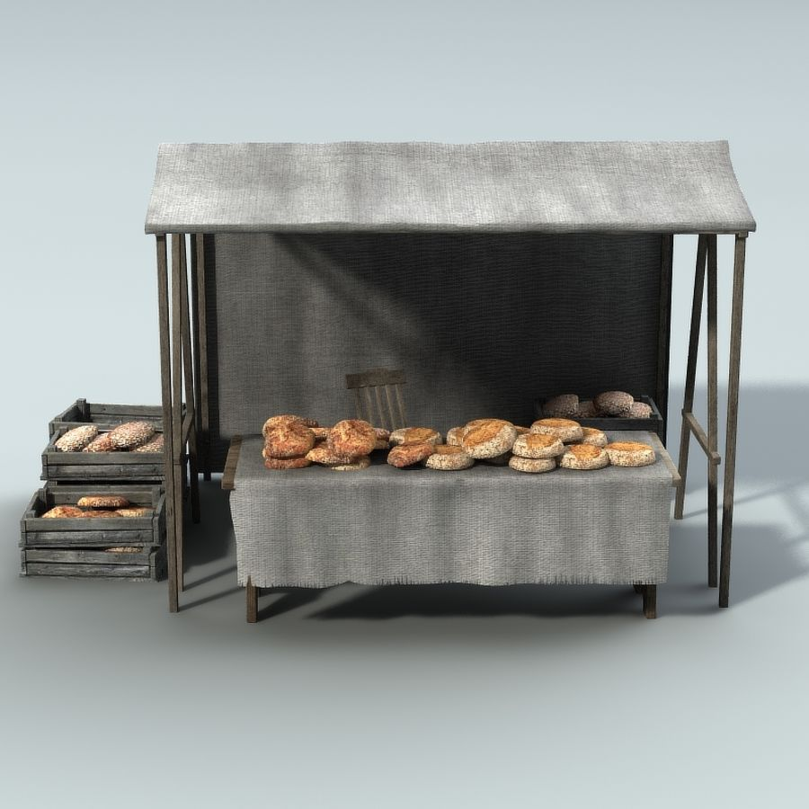 Marketstall Bread royalty-free 3d model - Preview no. 2
