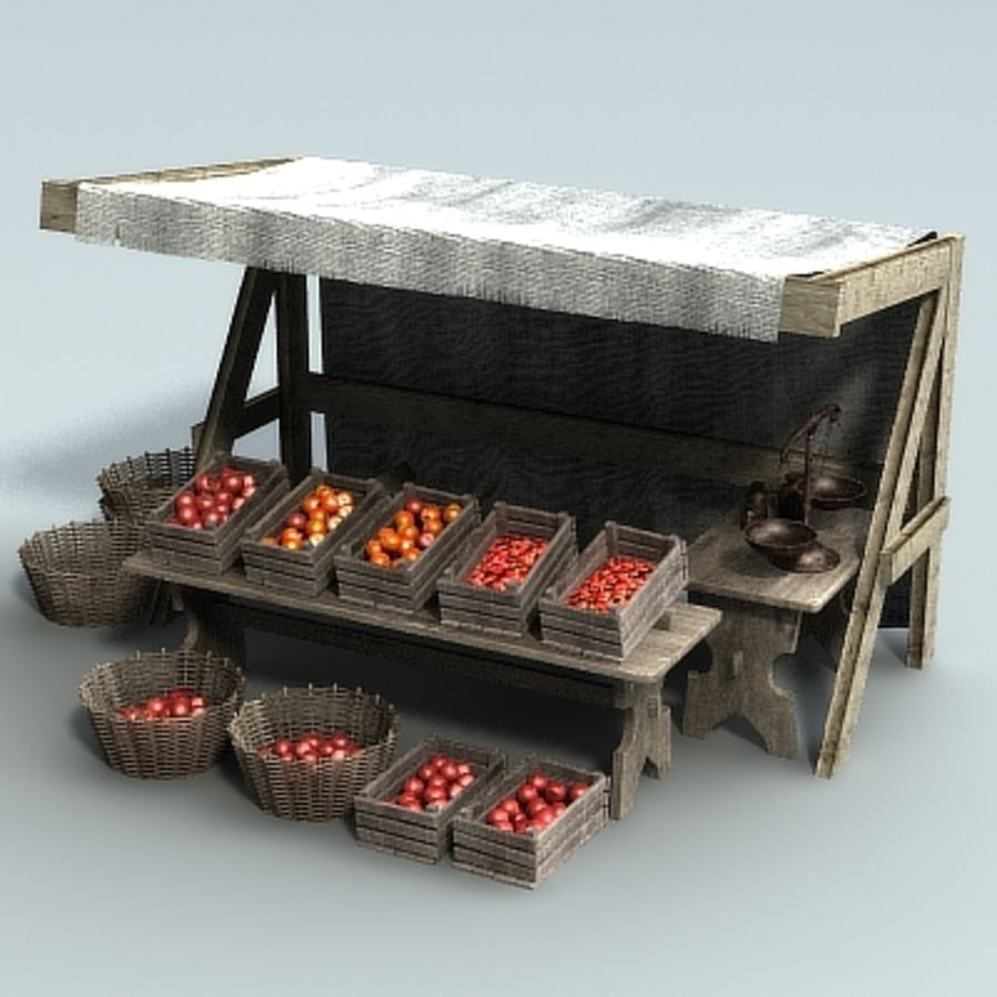 Marketstall Fruits royalty-free 3d model - Preview no. 2