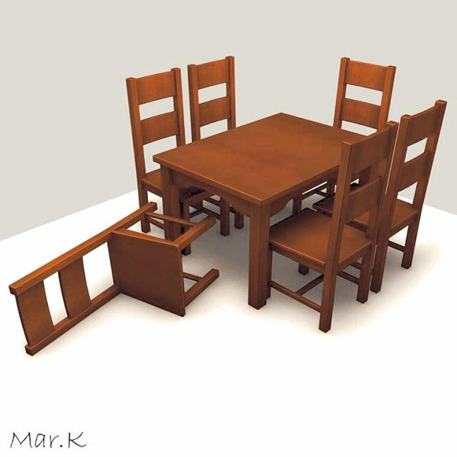 저녁 식사 테이블과 의자 royalty-free 3d model - Preview no. 1