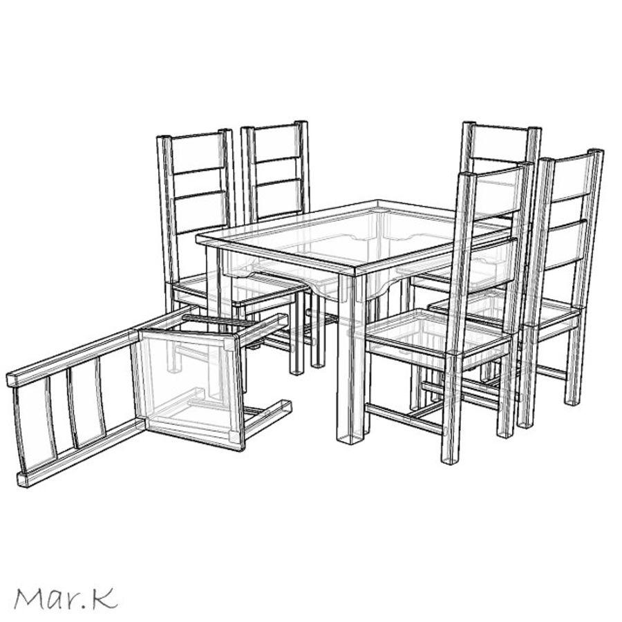 저녁 식사 테이블과 의자 royalty-free 3d model - Preview no. 3