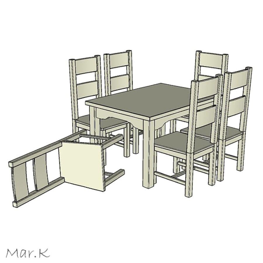 저녁 식사 테이블과 의자 royalty-free 3d model - Preview no. 2
