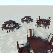 Asian Tables and Chairs 3d model