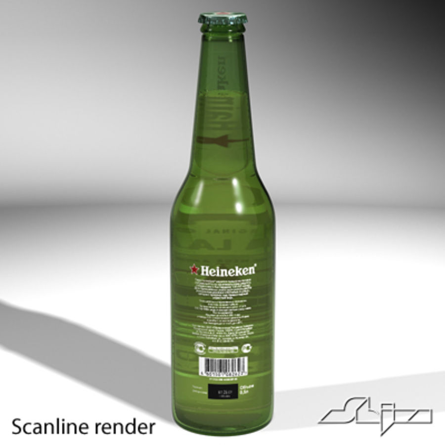 beer bottle heineken royalty-free 3d model - Preview no. 4