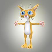 卡通猫1两足动物 3d model