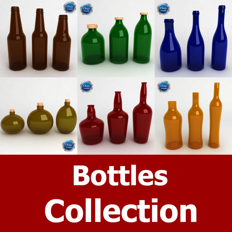 Bottles Collection royalty-free 3d model - Preview no. 1