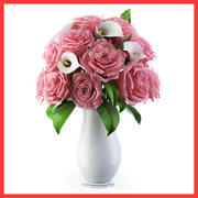 Bouquet of roses with callas 3d model