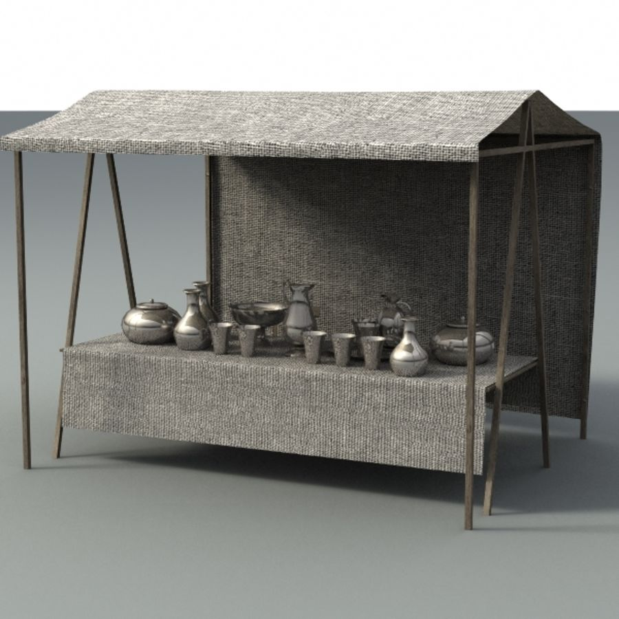 marketstall silver lowpoly royalty-free 3d model - Preview no. 2
