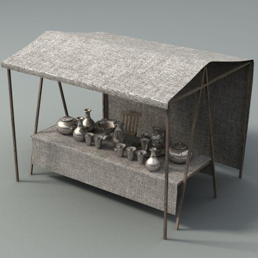 marketstall silver lowpoly royalty-free 3d model - Preview no. 1