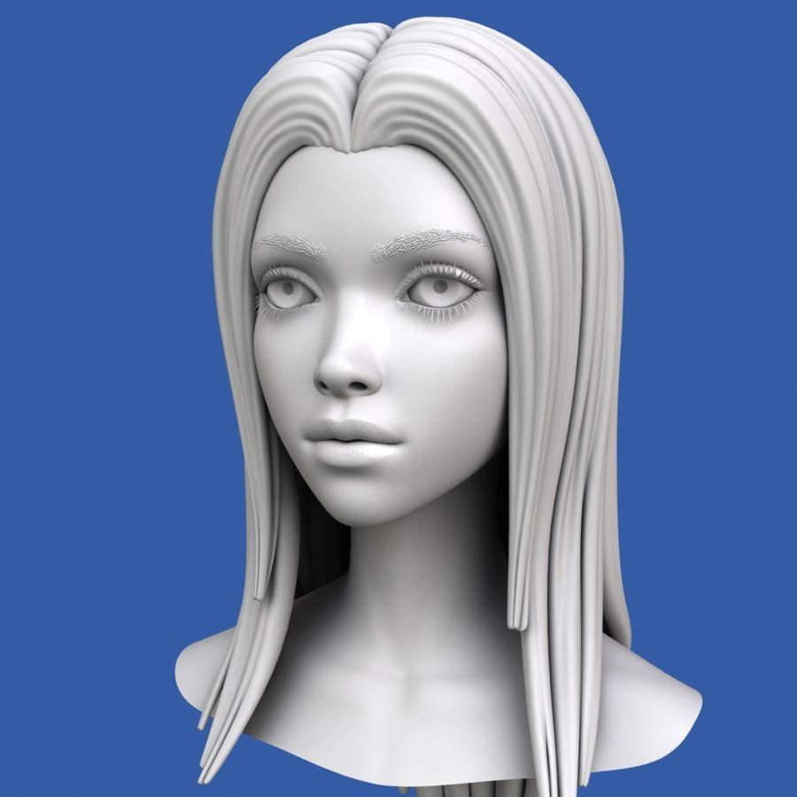 Cartoon meisje hoofd + uitdrukkingen royalty-free 3d model - Preview no. 33