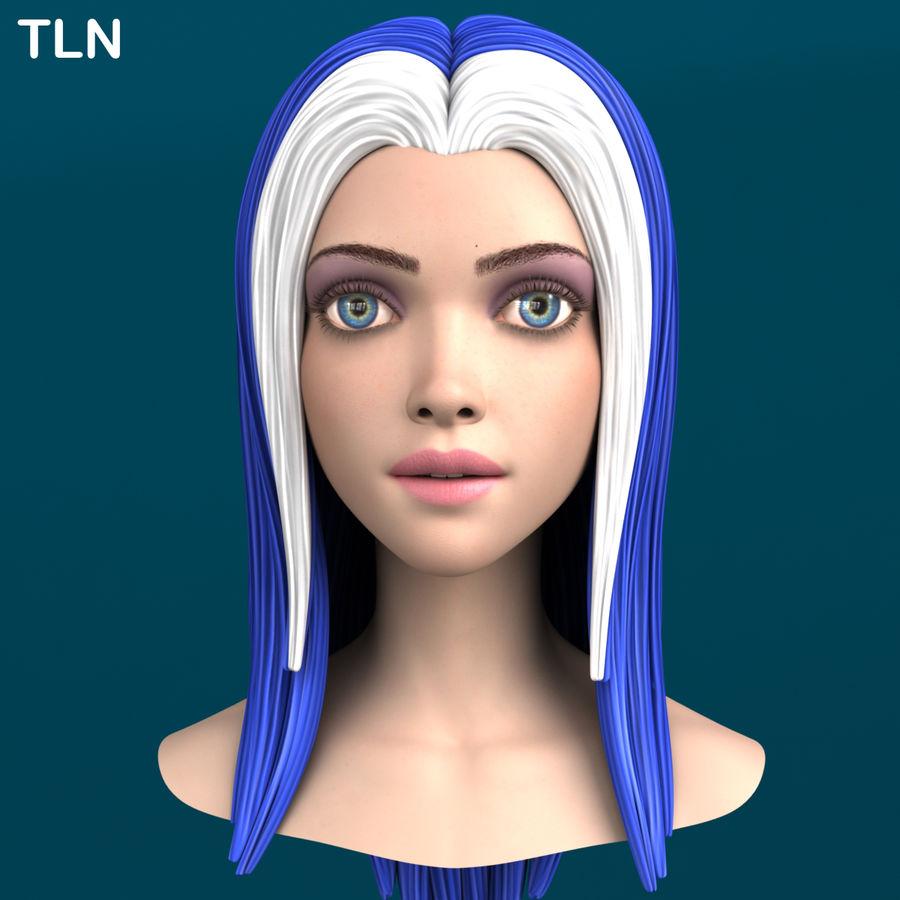 Cartoon meisje hoofd + uitdrukkingen royalty-free 3d model - Preview no. 22