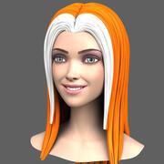 Cartoon meisje hoofd met uitdrukkingen 3d model