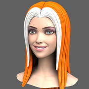 Cartoon Girl Head + Expressions 3d model