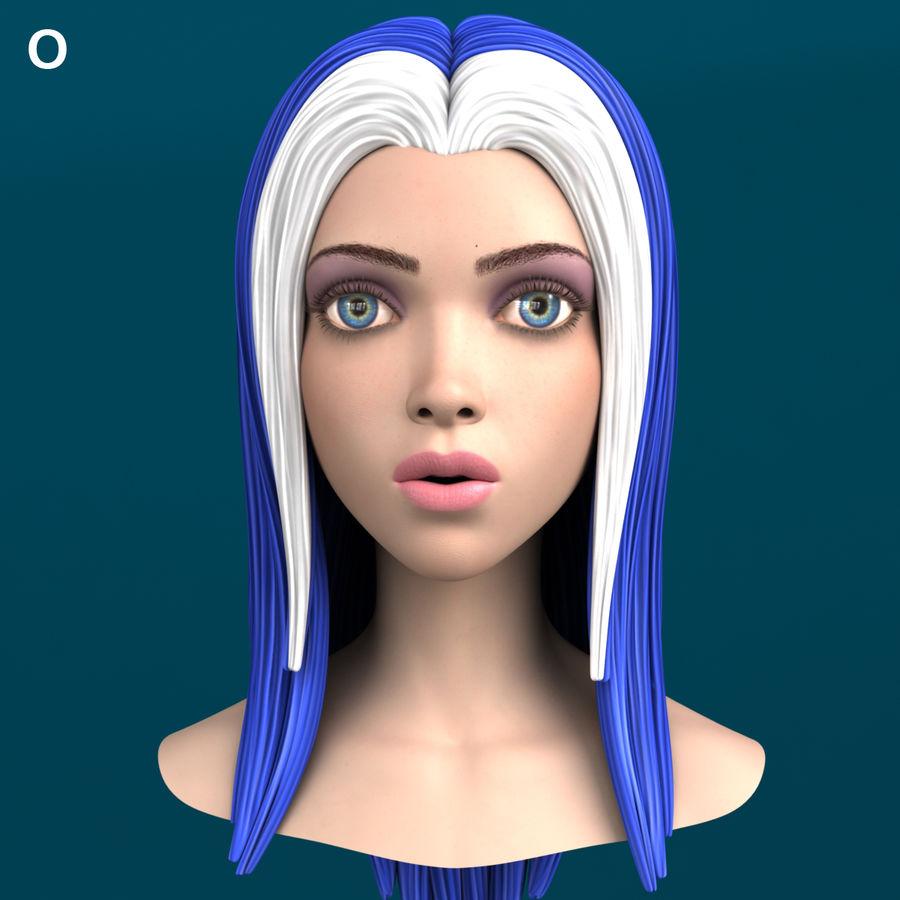 Cartoon meisje hoofd + uitdrukkingen royalty-free 3d model - Preview no. 24
