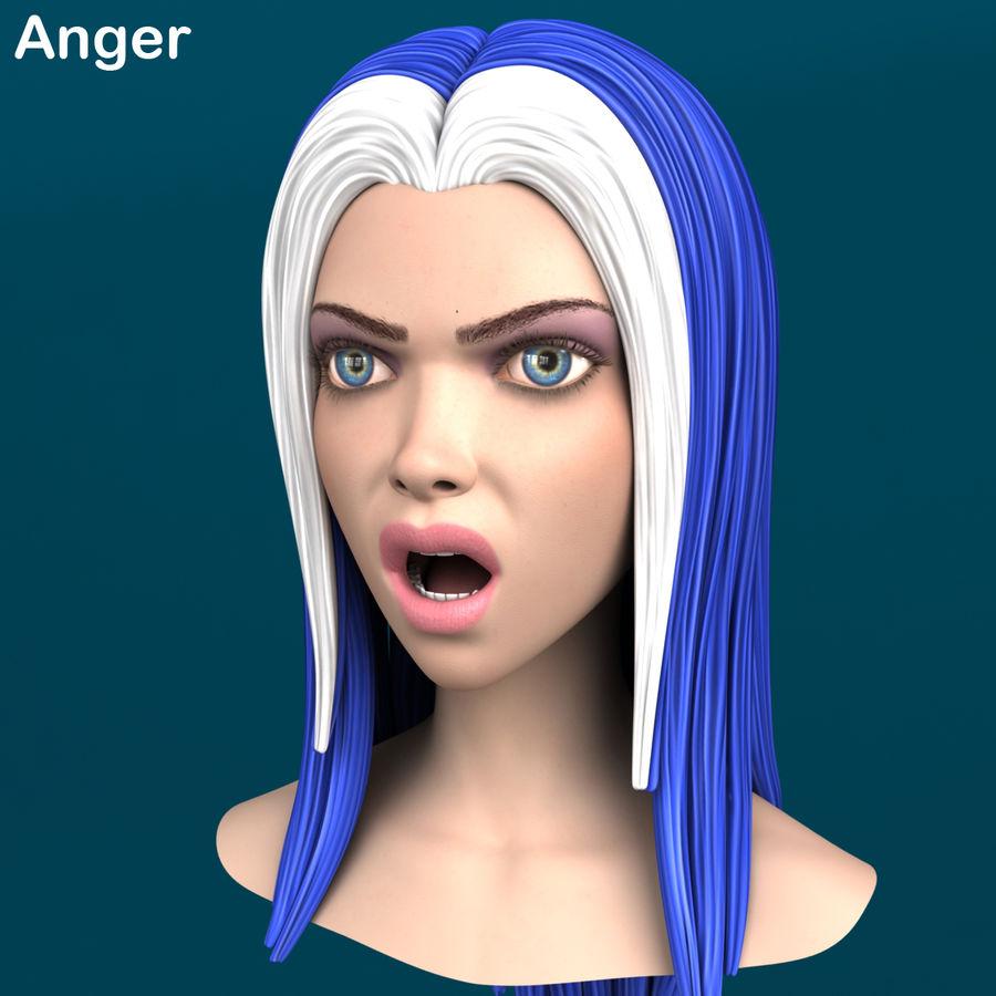 Cartoon meisje hoofd + uitdrukkingen royalty-free 3d model - Preview no. 9