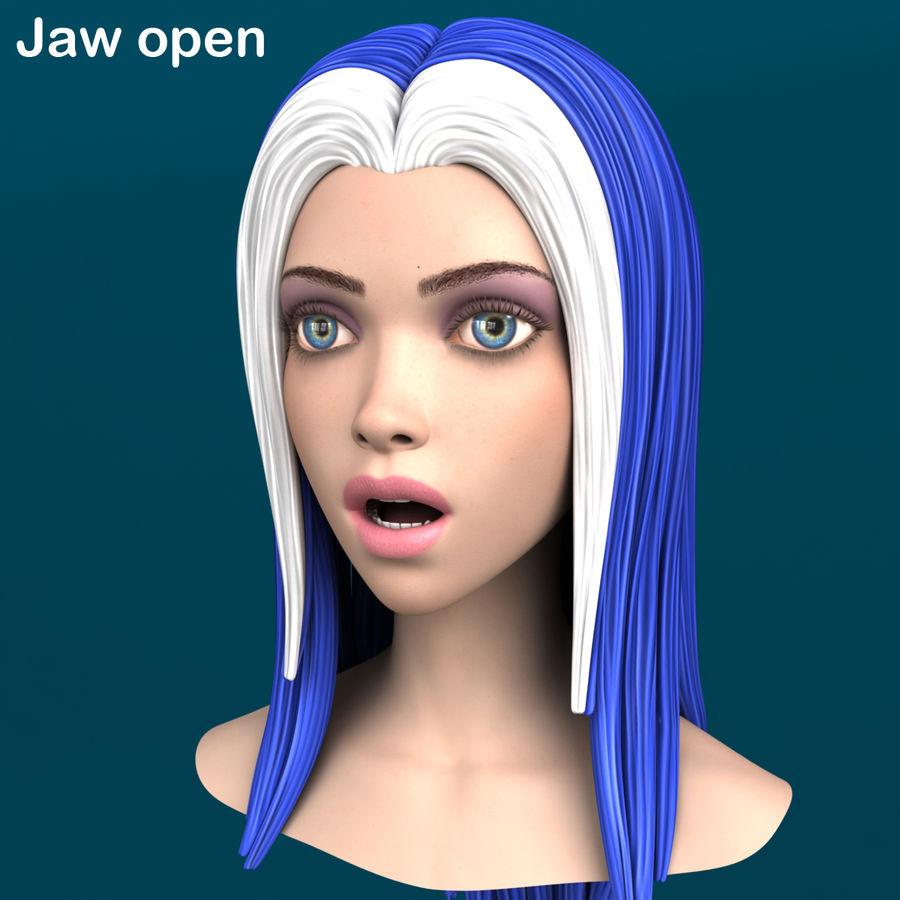 Cartoon meisje hoofd + uitdrukkingen royalty-free 3d model - Preview no. 16
