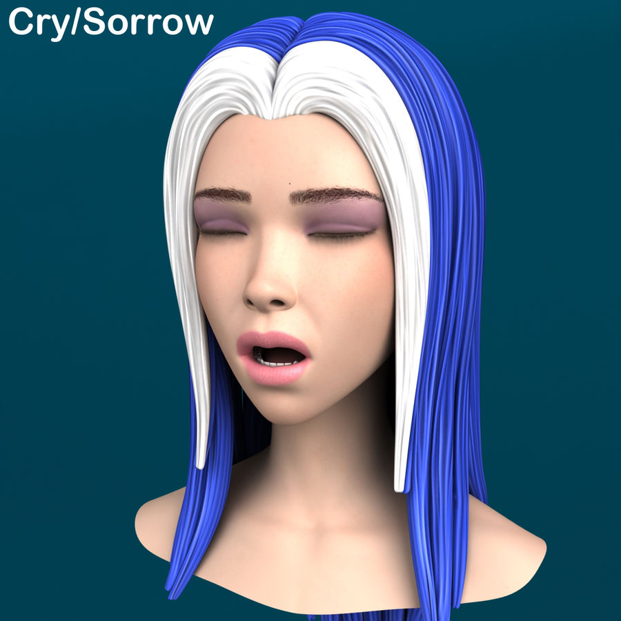 Cartoon meisje hoofd + uitdrukkingen royalty-free 3d model - Preview no. 10