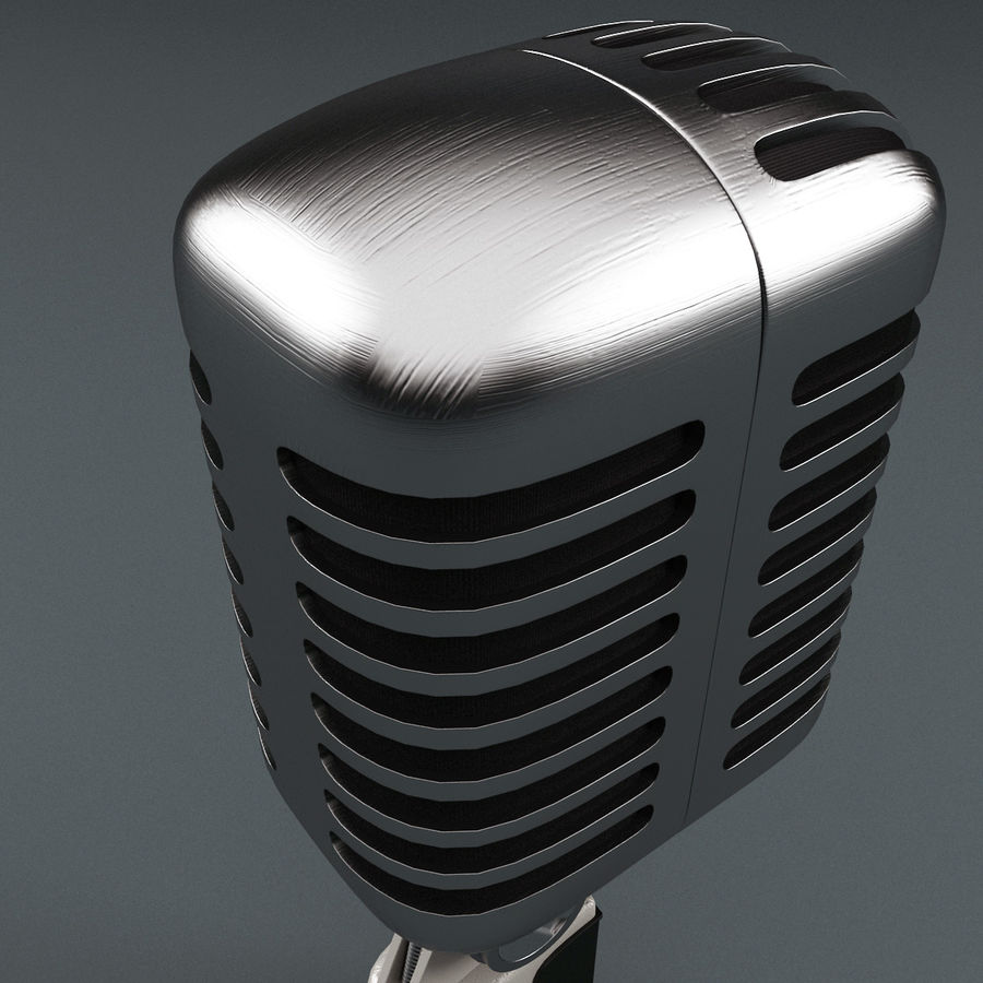 Retro Microphone royalty-free 3d model - Preview no. 9