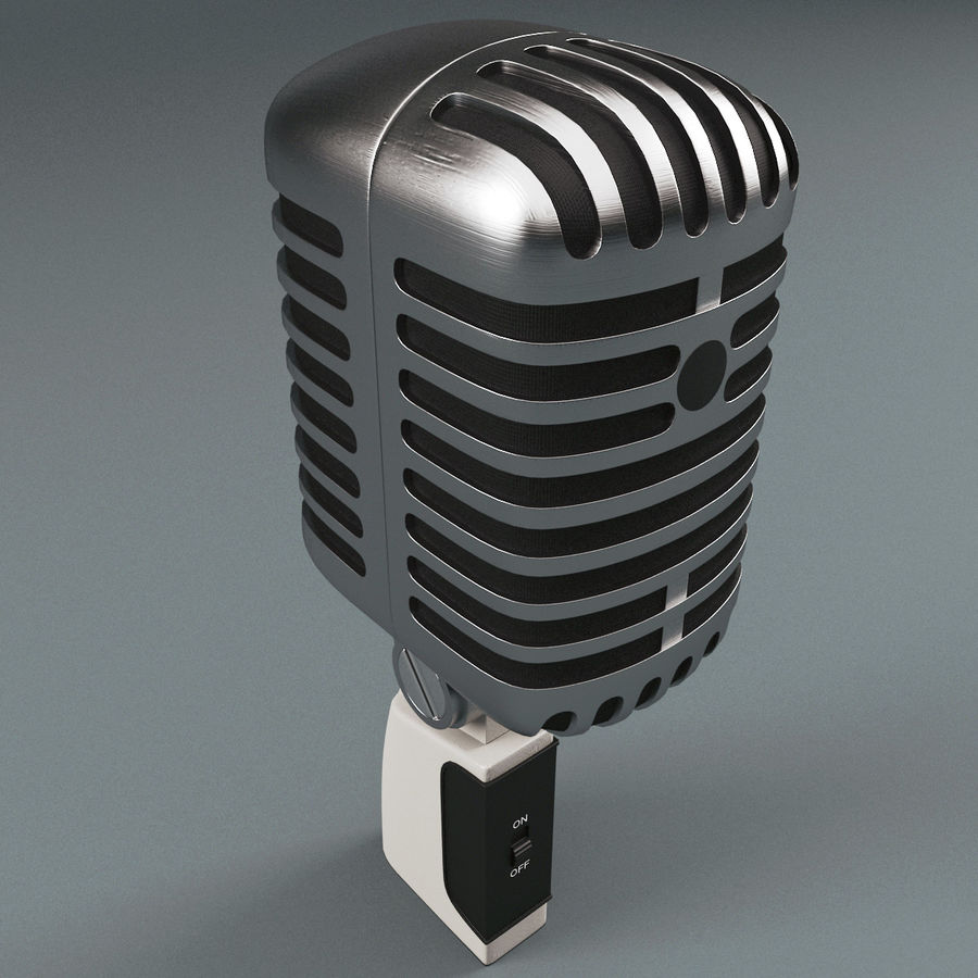 Retro Microphone royalty-free 3d model - Preview no. 12