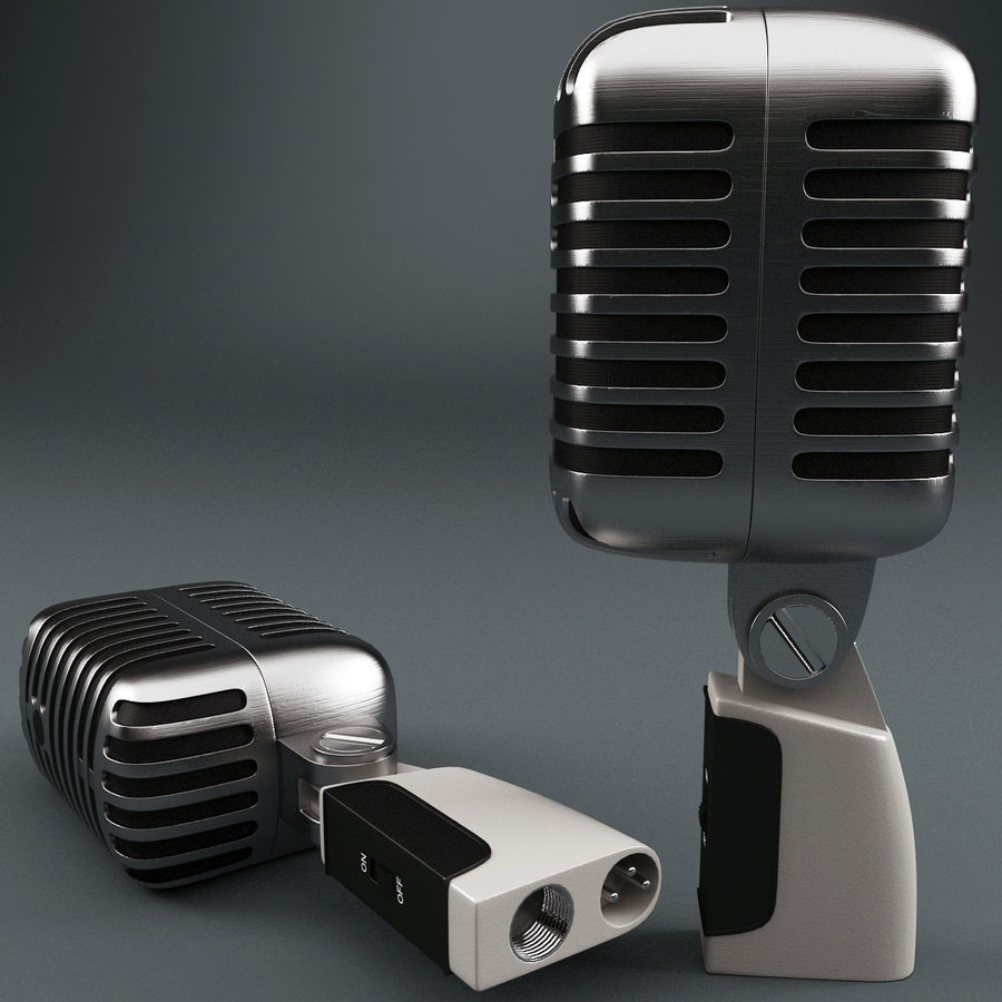 Retro Microphone royalty-free 3d model - Preview no. 2